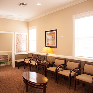 Cozy Gahanna dental patient waiting area