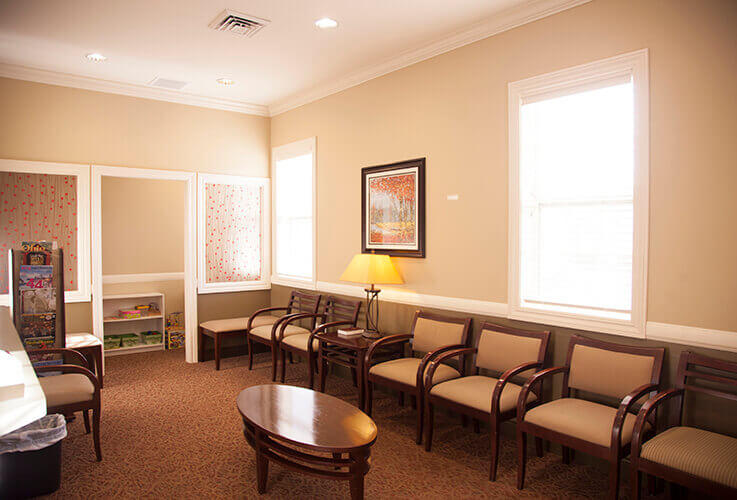 Cozy Gahanna, OH dental patient waiting room
